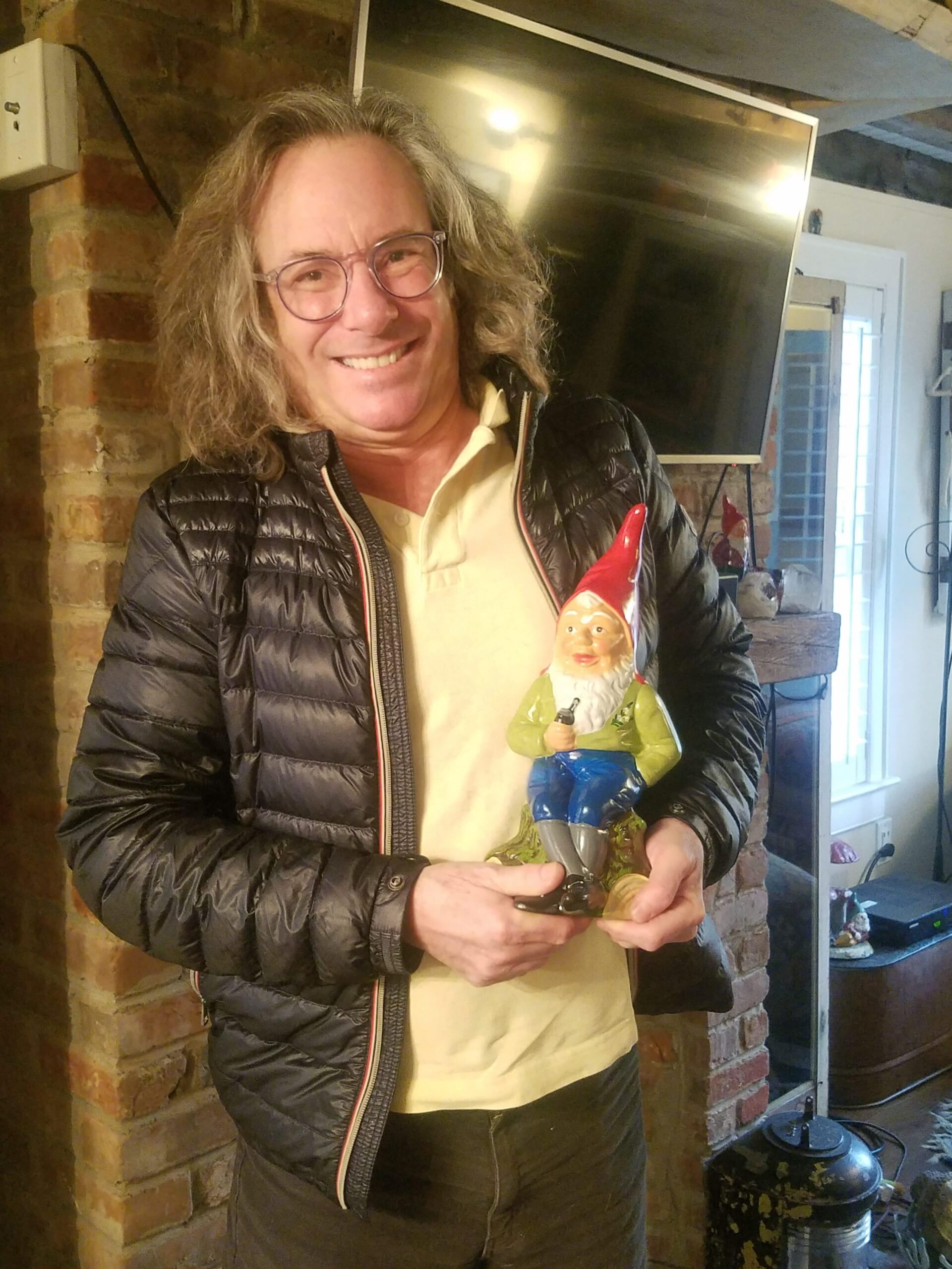 Warren Bobrow, with his gnome